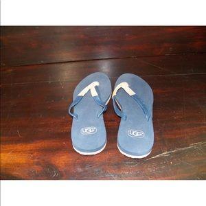 New Womens UGG Magnolia Navy Leather Flip Flops